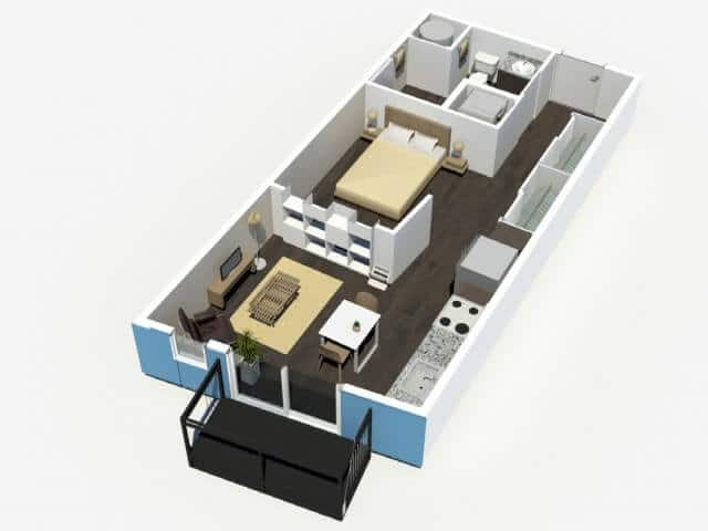 Suiko 1 Bedroom Floor Plan - Denizen Denver Apartments