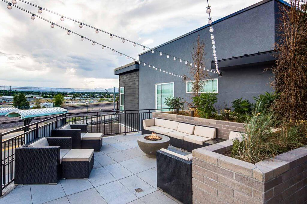 View of outdoor skylounge at Denizen Denver Apartments