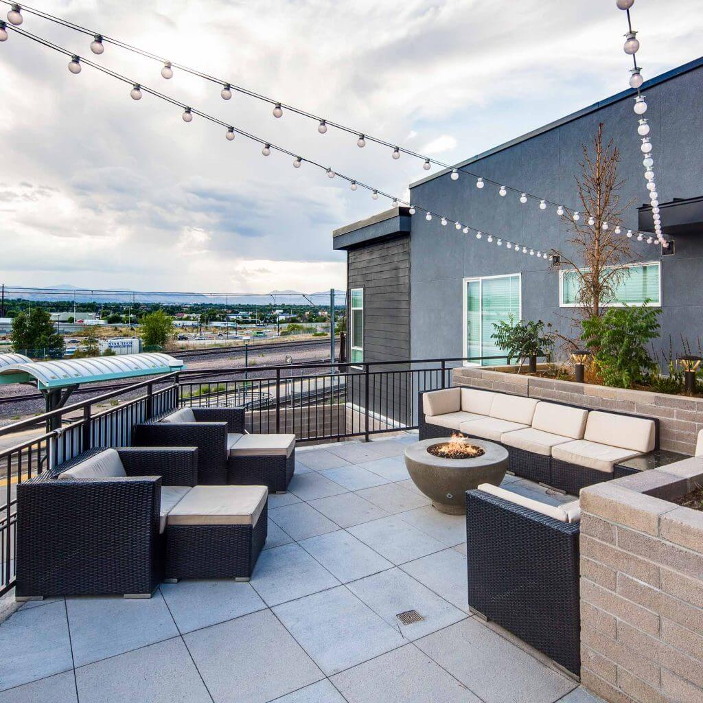 Denizen Apartments sky lounge with lights - Denver